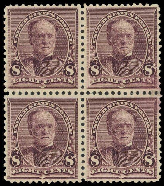 Costs of US Stamp Scott Cat. #225: 8c 1890 Sherman. Daniel Kelleher Auctions, Mar 2013, Sale 635, Lot 318