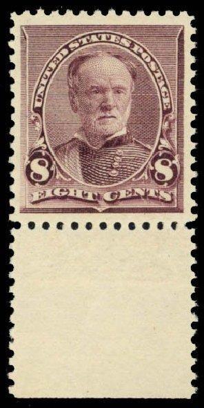 US Stamp Value Scott Cat. #225: 1890 8c Sherman. Daniel Kelleher Auctions, Oct 2014, Sale 660, Lot 2200