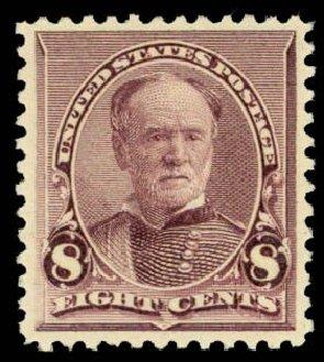 Value of US Stamps Scott Catalogue # 225 - 8c 1890 Sherman. Daniel Kelleher Auctions, Dec 2013, Sale 640, Lot 181