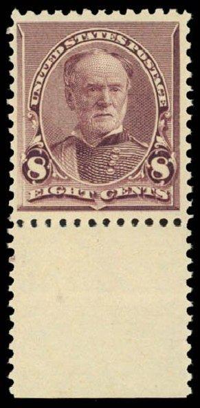 US Stamps Prices Scott Catalog 225: 1890 8c Sherman. Daniel Kelleher Auctions, Dec 2014, Sale 661, Lot 194