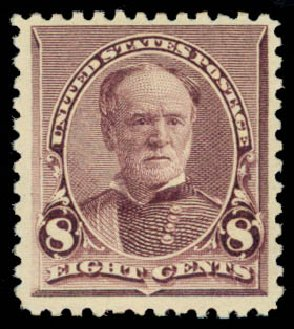 US Stamp Value Scott Catalog 225: 8c 1890 Sherman. Daniel Kelleher Auctions, Jan 2015, Sale 663, Lot 1442