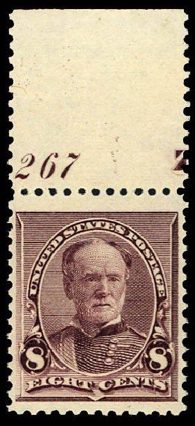 US Stamps Values Scott Cat. 225: 8c 1890 Sherman. Daniel Kelleher Auctions, Dec 2012, Sale 633, Lot 446