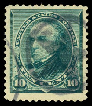 Cost of US Stamp Scott Cat. #226: 1890 10c Webster. Daniel Kelleher Auctions, Aug 2015, Sale 672, Lot 2468