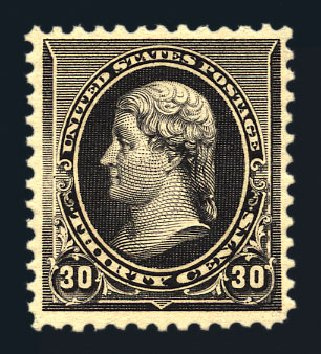 Value of US Stamps Scott # 228 - 1890 30c Jefferson. Harmer-Schau Auction Galleries, Aug 2015, Sale 106, Lot 1619