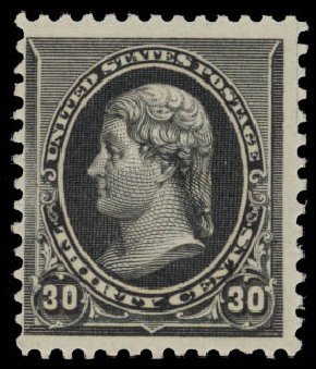 Prices of US Stamp Scott 228: 1890 30c Jefferson. Daniel Kelleher Auctions, May 2015, Sale 669, Lot 2709