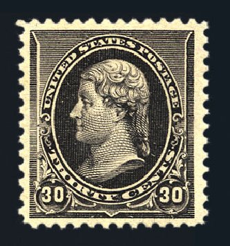 Value of US Stamp Scott Catalogue # 228 - 30c 1890 Jefferson. Harmer-Schau Auction Galleries, Aug 2015, Sale 106, Lot 1620