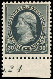 US Stamps Price Scott 228 - 30c 1890 Jefferson. Schuyler J. Rumsey Philatelic Auctions, Apr 2015, Sale 60, Lot 2730