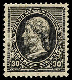 US Stamps Price Scott Catalogue # 228 - 1890 30c Jefferson. Daniel Kelleher Auctions, May 2015, Sale 669, Lot 2711
