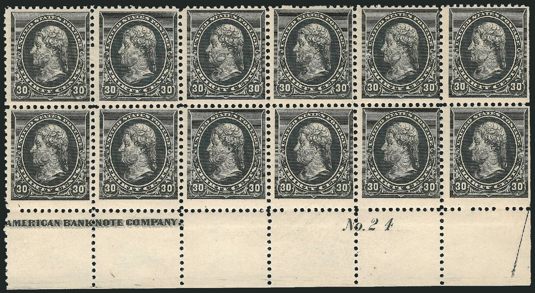 Prices of US Stamps Scott Catalog #228: 30c 1890 Jefferson. Robert Siegel Auction Galleries, Apr 2015, Sale 1096, Lot 394