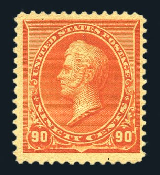 US Stamps Values Scott Catalogue # 229 - 90c 1890 Perry. Harmer-Schau Auction Galleries, Aug 2015, Sale 106, Lot 1621