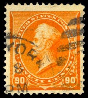 US Stamp Value Scott Cat. # 229: 90c 1890 Perry. Daniel Kelleher Auctions, Aug 2015, Sale 672, Lot 2471