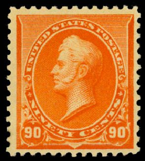 Prices of US Stamps Scott Cat. 229: 90c 1890 Perry. Daniel Kelleher Auctions, Jan 2015, Sale 663, Lot 1445