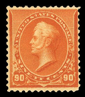 Value of US Stamps Scott # 229 - 90c 1890 Perry. Cherrystone Auctions, Mar 2015, Sale 201503, Lot 23