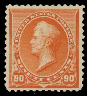 US Stamps Prices Scott 229 - 90c 1890 Perry. Daniel Kelleher Auctions, May 2015, Sale 669, Lot 2713