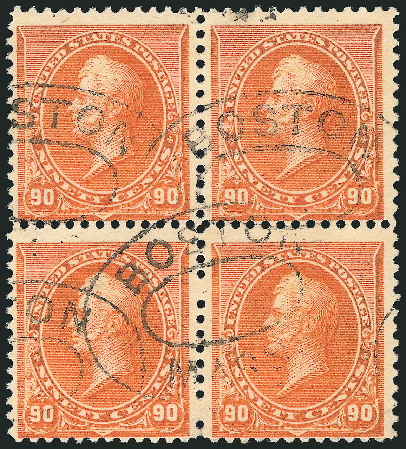 Values of US Stamps Scott Catalogue #229 - 90c 1890 Perry. Robert Siegel Auction Galleries, Jun 2015, Sale 1100, Lot 43