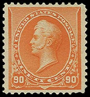 Values of US Stamp Scott Catalogue 229: 1890 90c Perry. H.R. Harmer, Jun 2015, Sale 3007, Lot 3236