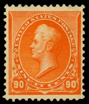 Value of US Stamp Scott Catalogue # 229 - 90c 1890 Perry. Daniel Kelleher Auctions, Jan 2015, Sale 663, Lot 1446