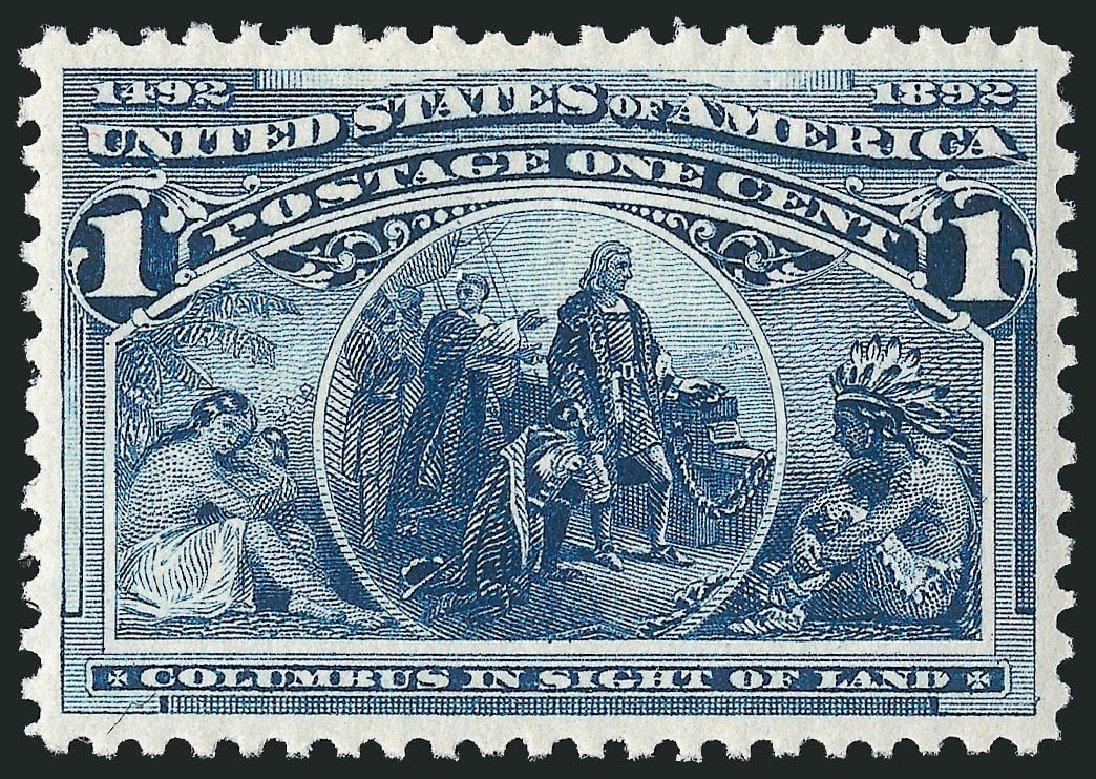 Value of US Stamps Scott Catalogue # 230 - 1c 1893 Columbian Exposition. Robert Siegel Auction Galleries, Apr 2014, Sale 1068, Lot 178