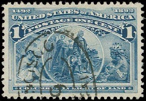 US Stamp Price Scott Catalog 230: 1c 1893 Columbian Exposition. H.R. Harmer, Oct 2014, Sale 3006, Lot 1249