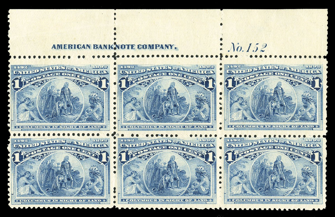 Values of US Stamps Scott 230: 1893 1c Columbian Exposition. Cherrystone Auctions, Jul 2015, Sale 201507, Lot 2080