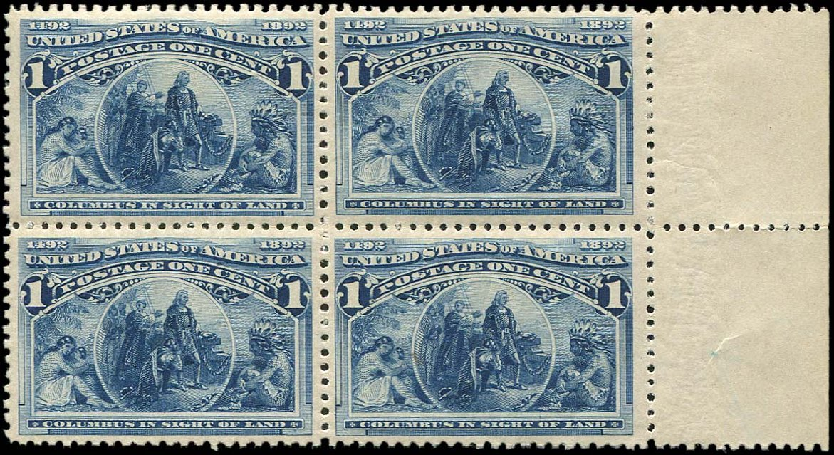 Values of US Stamp Scott Cat. # 230 - 1893 1c Columbian Exposition. Regency-Superior, Aug 2015, Sale 112, Lot 395