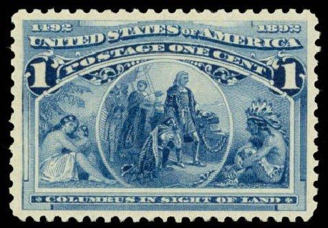 Cost of US Stamps Scott #230: 1893 1c Columbian Exposition. Daniel Kelleher Auctions, Oct 2014, Sale 660, Lot 2206