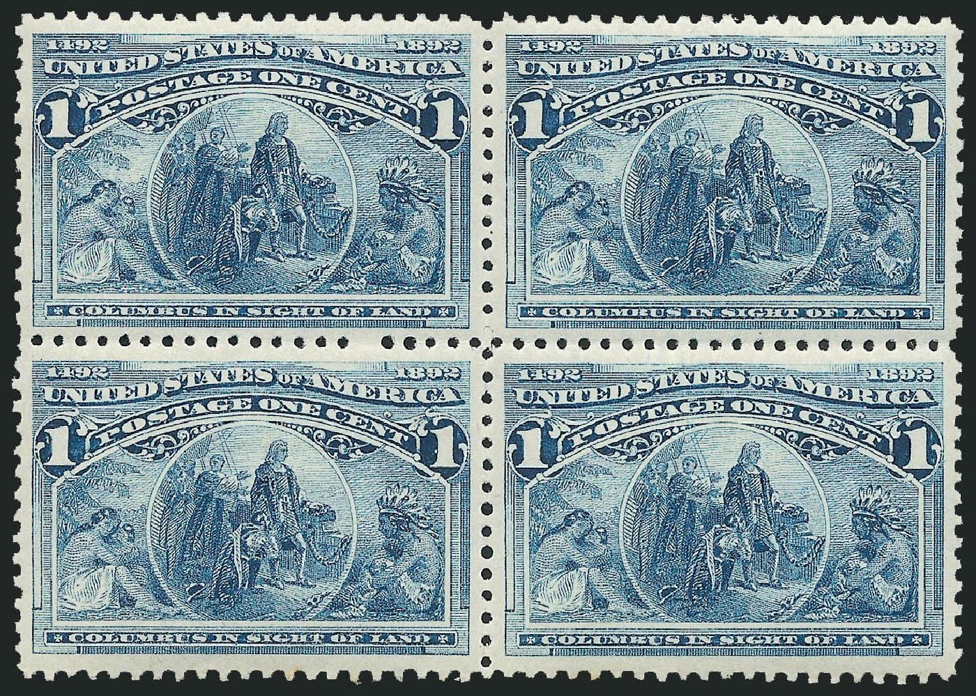 Values of US Stamps Scott Cat. # 230: 1893 1c Columbian Exposition. Robert Siegel Auction Galleries, Dec 2014, Sale 1090, Lot 1386