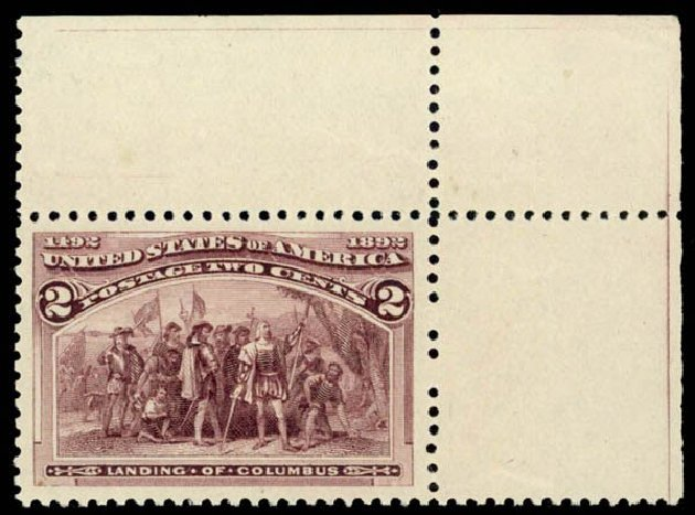 Values of US Stamps Scott Catalogue #231 - 1893 2c Columbian Exposition. Daniel Kelleher Auctions, Oct 2014, Sale 660, Lot 2207