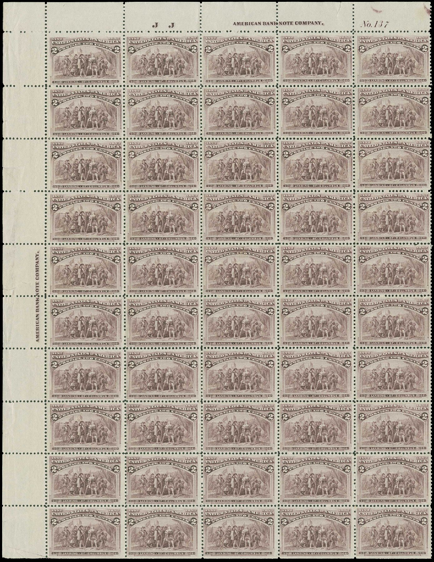 Costs of US Stamp Scott 231: 1893 2c Columbian Exposition. H.R. Harmer, Jun 2015, Sale 3007, Lot 3239