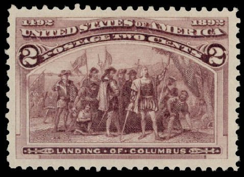 US Stamp Value Scott # 231 - 1893 2c Columbian Exposition. Daniel Kelleher Auctions, May 2015, Sale 669, Lot 2720