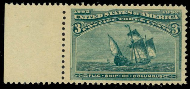 Values of US Stamps Scott Catalogue #232 - 3c 1893 Columbian Exposition. Daniel Kelleher Auctions, Jan 2015, Sale 663, Lot 1451