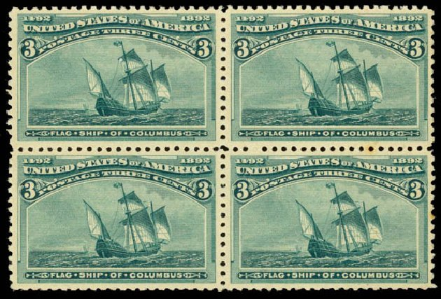 US Stamps Value Scott #232: 3c 1893 Columbian Exposition. Daniel Kelleher Auctions, Jan 2015, Sale 663, Lot 1452
