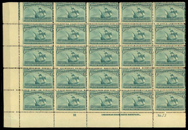 US Stamp Values Scott Catalogue # 232: 3c 1893 Columbian Exposition. Daniel Kelleher Auctions, May 2015, Sale 669, Lot 2722