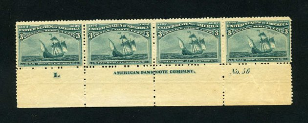 US Stamp Price Scott 232: 3c 1893 Columbian Exposition. Harmer-Schau Auction Galleries, Aug 2015, Sale 106, Lot 1623