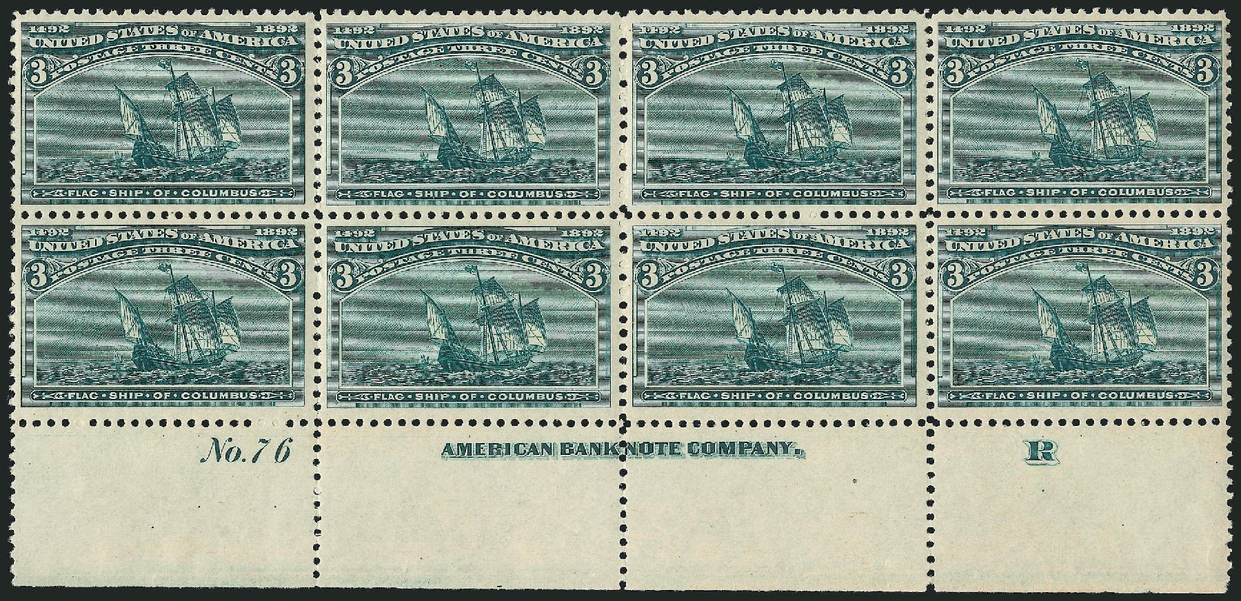 US Stamps Price Scott #232: 3c 1893 Columbian Exposition. Robert Siegel Auction Galleries, Apr 2015, Sale 1096, Lot 406