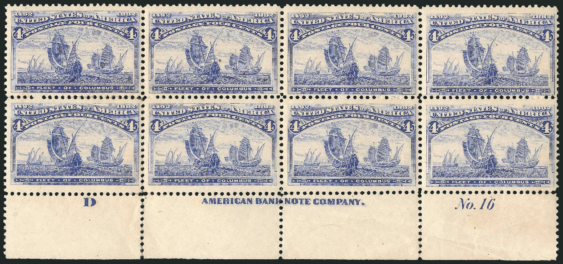 US Stamp Values Scott Cat. # 233: 1893 4c Columbian Exposition. Robert Siegel Auction Galleries, Apr 2015, Sale 1096, Lot 407