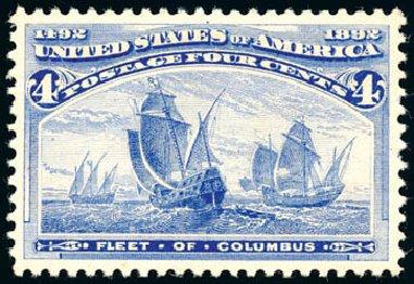 Value of US Stamp Scott 233: 1893 4c Columbian Exposition. Schuyler J. Rumsey Philatelic Auctions, Apr 2015, Sale 60, Lot 2209