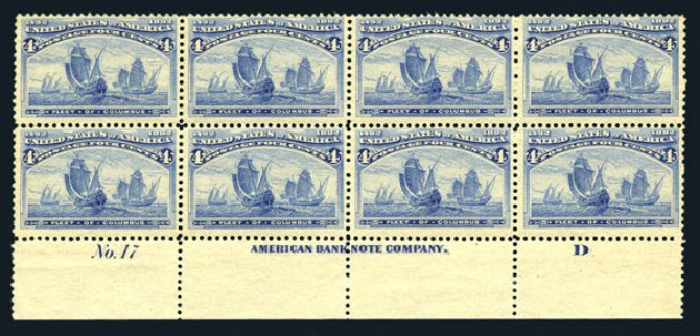 Prices of US Stamp Scott Catalogue #233 - 1893 4c Columbian Exposition. Harmer-Schau Auction Galleries, Aug 2015, Sale 106, Lot 1624