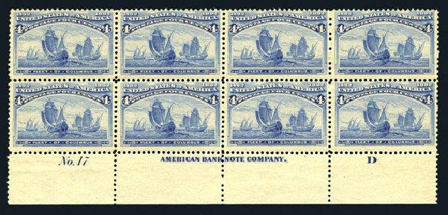Prices of US Stamp Scott Catalogue #233 - 1893 4c Columbian Exposition. Harmer-Schau Auction Galleries, Aug 2015, Sale 106, Lot 1624