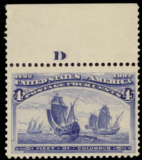 Values of US Stamps Scott Catalogue # 233 - 4c 1893 Columbian Exposition. Daniel Kelleher Auctions, May 2015, Sale 669, Lot 2724