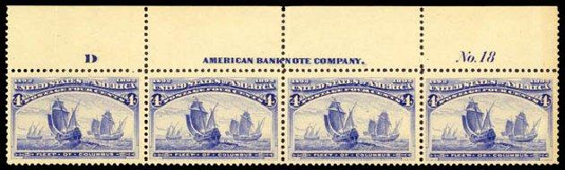 Price of US Stamp Scott # 233: 4c 1893 Columbian Exposition. Daniel Kelleher Auctions, Aug 2015, Sale 672, Lot 2474