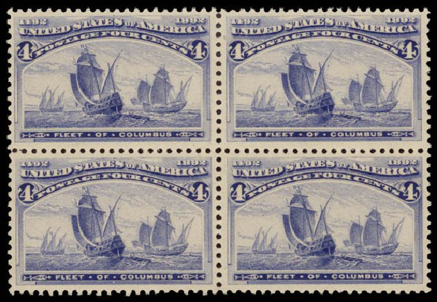 US Stamp Values Scott #233 - 1893 4c Columbian Exposition. Daniel Kelleher Auctions, May 2015, Sale 669, Lot 2725