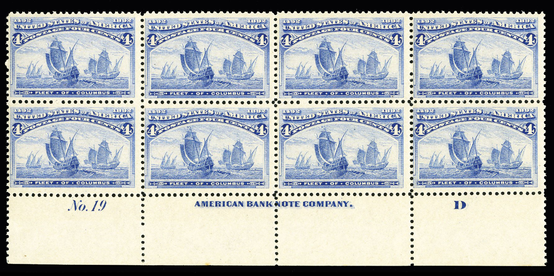 Values of US Stamp Scott Cat. #233: 1893 4c Columbian Exposition. Cherrystone Auctions, Jul 2015, Sale 201507, Lot 2082