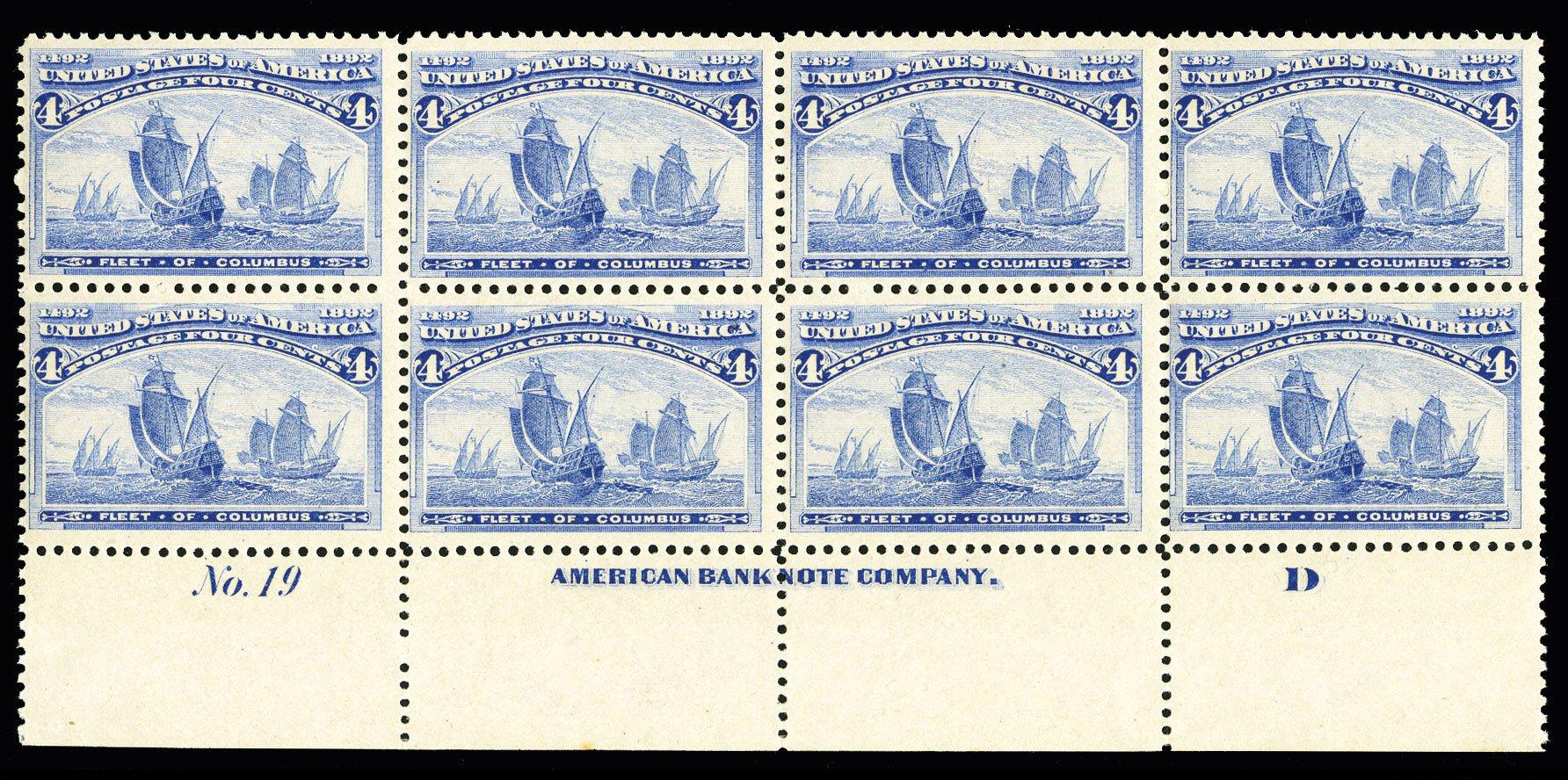 Values of US Stamp Scott Cat. #233: 1893 4c Columbian Exposition. Cherrystone Auctions, Jul 2015, Sale 201507, Lot 2082