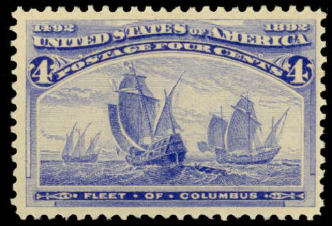 US Stamp Value Scott 233: 1893 4c Columbian Exposition. Daniel Kelleher Auctions, Aug 2015, Sale 672, Lot 2473