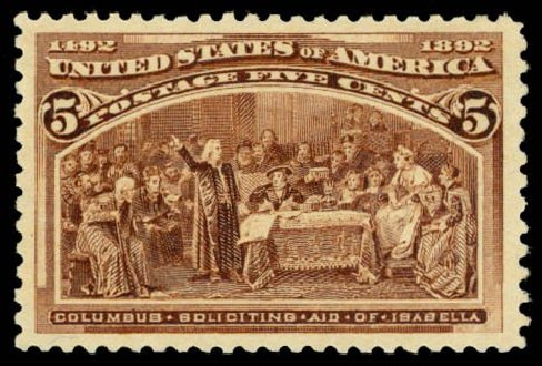 US Stamp Price Scott # 234: 1893 5c Columbian Exposition. Daniel Kelleher Auctions, Dec 2014, Sale 661, Lot 200