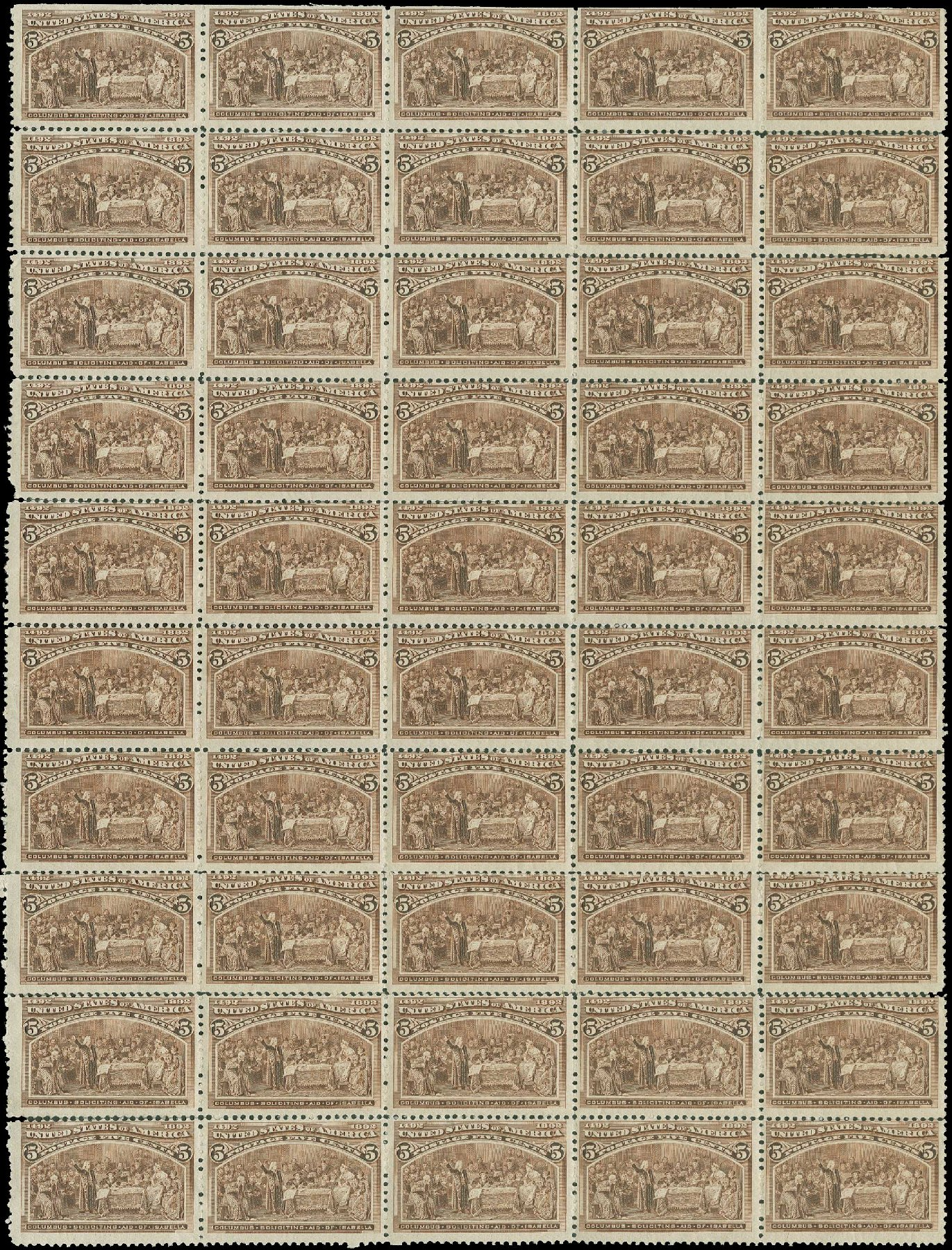 Prices of US Stamp Scott Catalogue 234: 5c 1893 Columbian Exposition. H.R. Harmer, Jun 2015, Sale 3007, Lot 3241