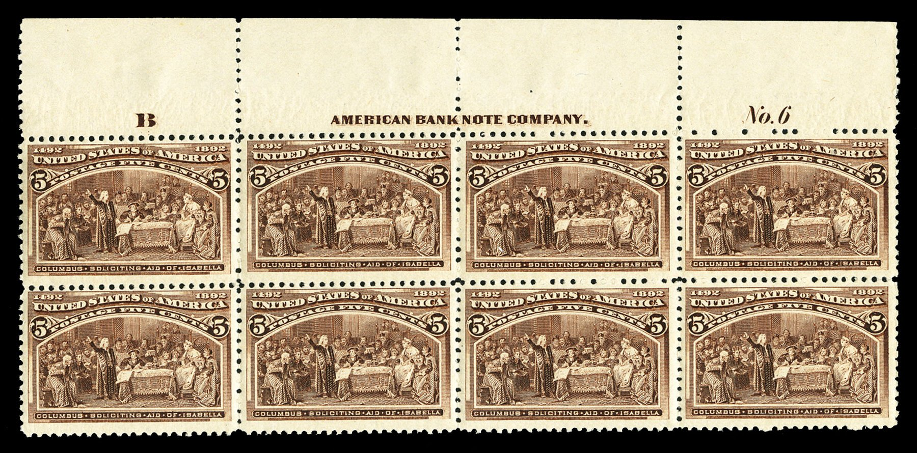 US Stamp Values Scott Catalogue #234 - 5c 1893 Columbian Exposition. Cherrystone Auctions, Jul 2015, Sale 201507, Lot 2084