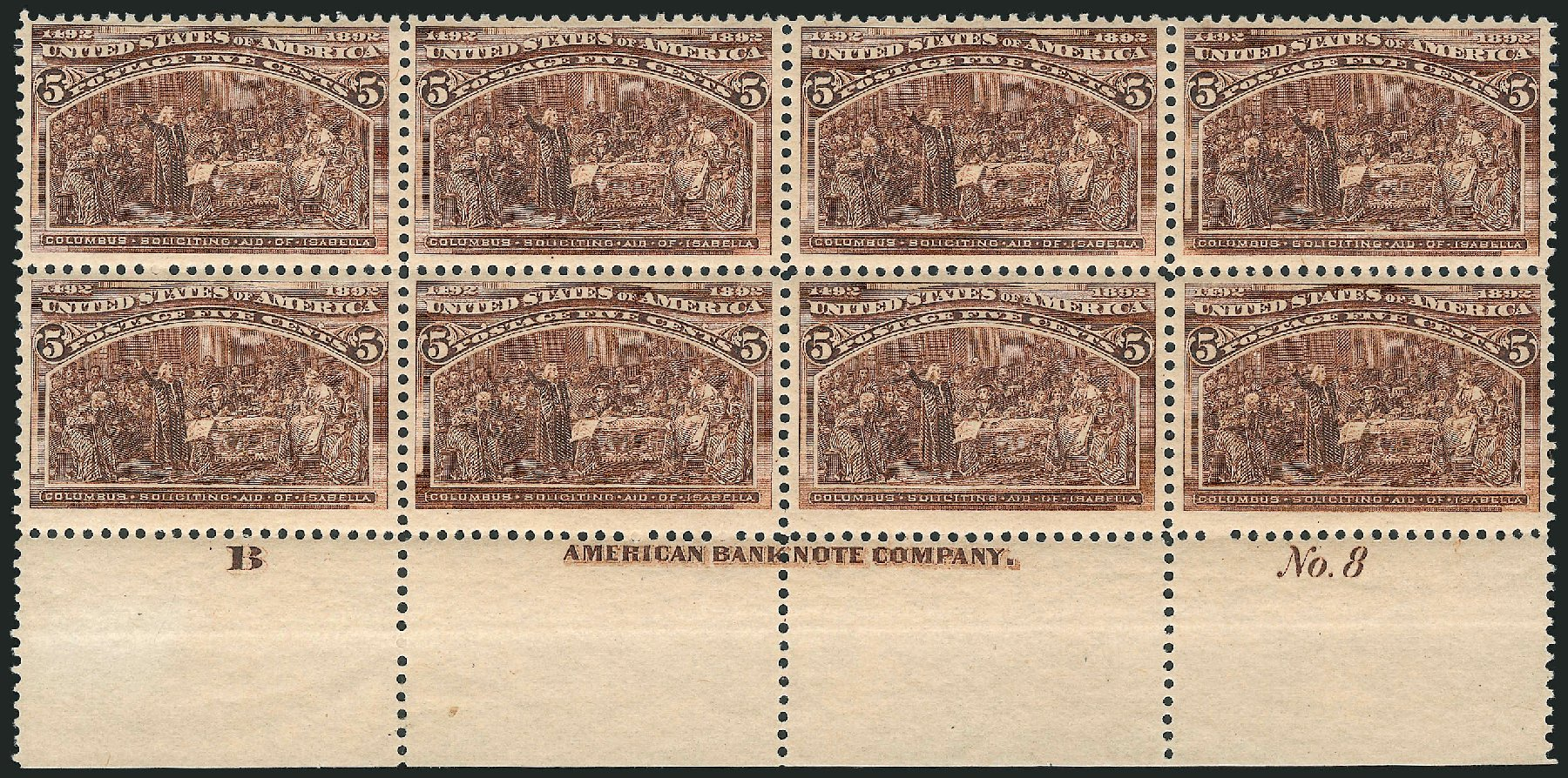 US Stamp Values Scott Cat. #234 - 1893 5c Columbian Exposition. Robert Siegel Auction Galleries, Feb 2015, Sale 1092, Lot 1173