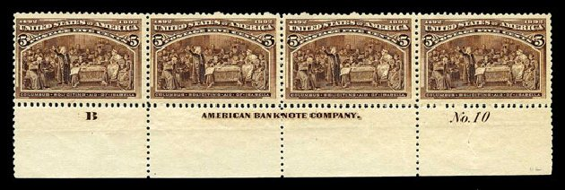 US Stamps Values Scott Catalog #234 - 1893 5c Columbian Exposition. Harmer-Schau Auction Galleries, Aug 2015, Sale 106, Lot 1626